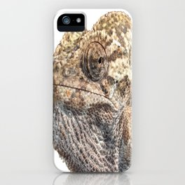 Chameleon With Sinister Facial Expression Isolated iPhone Case