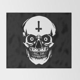 Most Ugly Satanic Skull Throw Blanket