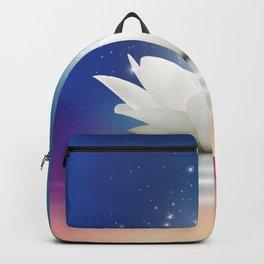 Elegant Gentle  White  Lotus / Lily flower Backpack