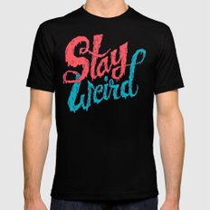 Stay Weird LARGE Mens Fitted Tee Black