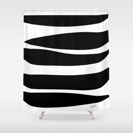 Irregular Stripes Black White Waves Art Design Shower Curtain