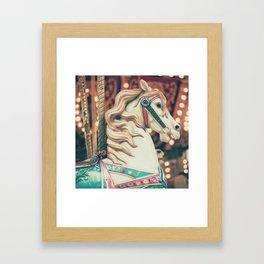 Serious Carousel Horse Framed Art Print