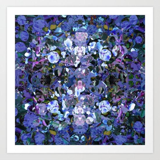 Blue Spot Floral Art Print