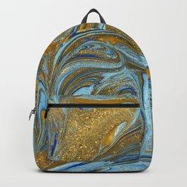 Blue Aqua & Gold Marble Backpack
