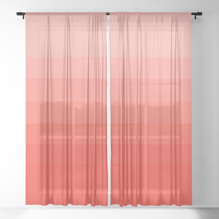 Living Coral Light to Bright Gradient Sheer Curtain