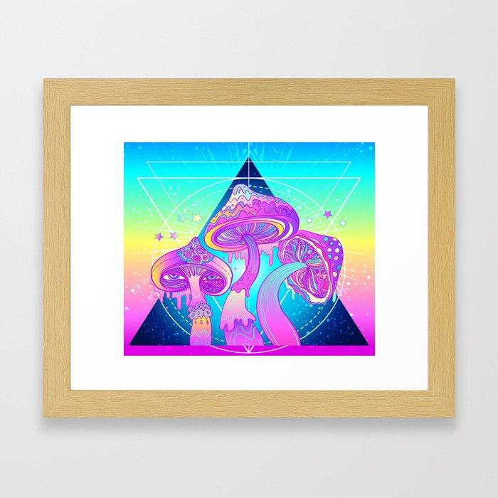 Magic Mushrooms over Sacred Geometry Framed Art Print