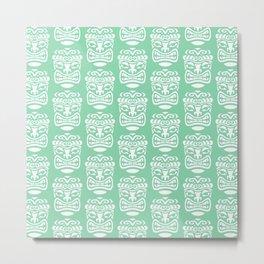 Tiki Pattern Mint Green Metal Print