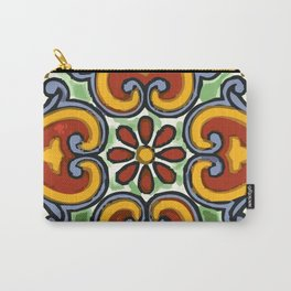 Talavera Mexican tile inspired bold design in green, gold, red and blue Carry-All Pouch