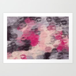pink purple and black kisses lipstick abstract background Art Print