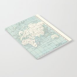 World Map in Blue and Cream Notebook