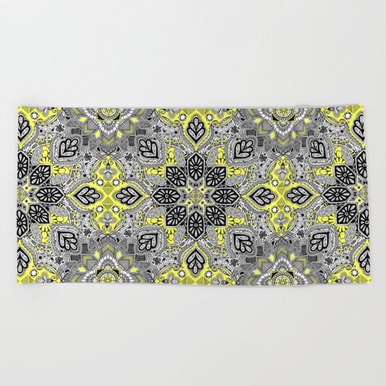Boho Sunshine Medallion Pattern Beach Towel