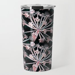 Frost Flower Abstract In Pink And Black Travel Mug