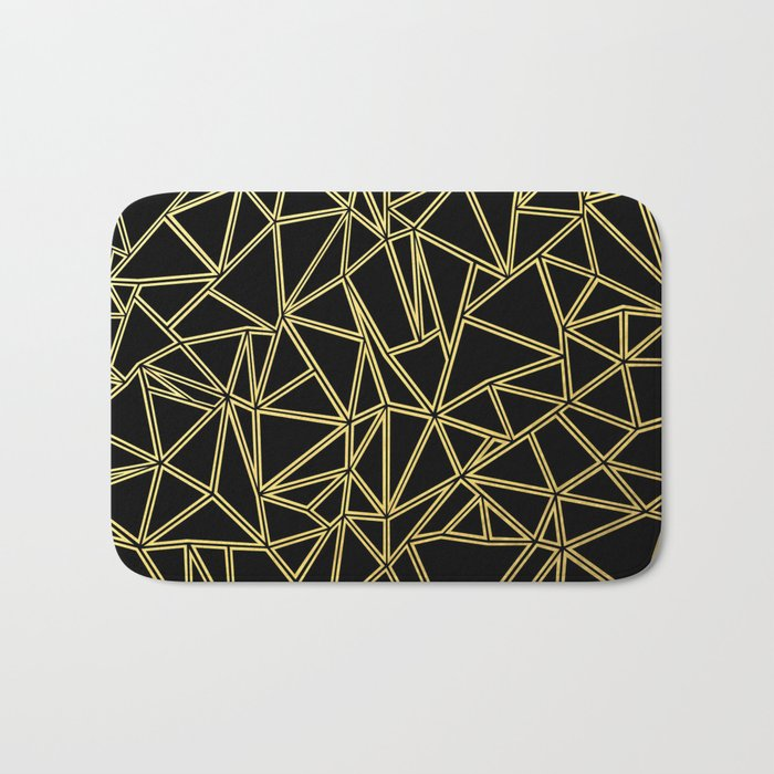 Abstract Blocks Gold Bath Mat