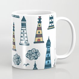 Cool Lighthouse Pattern with Birds and Clouds Coffee Mug
