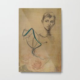 Young woman in a dress with a blue border and roses Metal Print