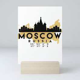MOSCOW RUSSIA SILHOUETTE SKYLINE MAP ART Mini Art Print