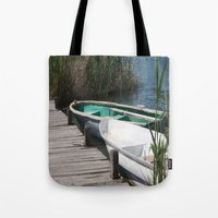 rowing Tote Bags featuring Reeds, Rowing Boats and Old Jetty at Dalyan by taiche