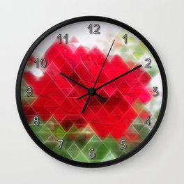 Red Rose Edges Art Triangles 2 Wall Clock