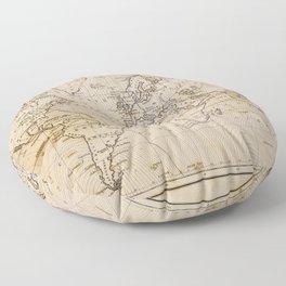 World Map 1844 Floor Pillow