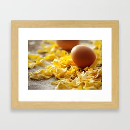 Fresh italian Pasta with egg Framed Art Print