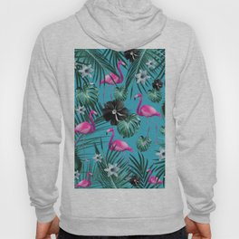 Tropical Flamingo Flower Jungle #1 #tropical #decor #art #society6 Hoody