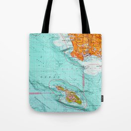 Long Beach colorful old map Tote Bag