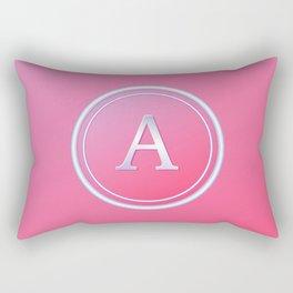 Silver and Pink Monogram - A Rectangular Pillow