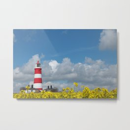 Happisburgh Lighthouse surrounded by Yellow flowering Oil Seed Rape Metal Print