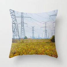 Landscape with power lines Throw Pillow