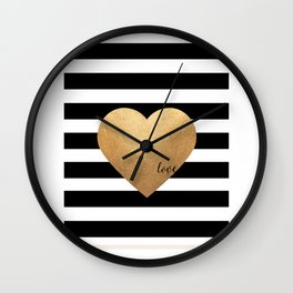GOLD HEART PRINT, Heart Print,Heart Sign,Heart Decor,Gold Print,Gold Foil,Love Word,Love Quote,Love Wall Clock