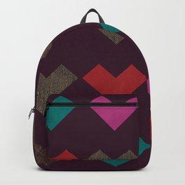 leather geometric love on dark purple Backpack