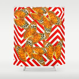 ORANGE BUTTERFLIES ON RED-WHITE GRAPHIC PATTERNS Shower Curtain