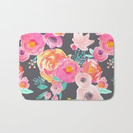 Indy Bloom Design Blush Grey Florals Bath Mat