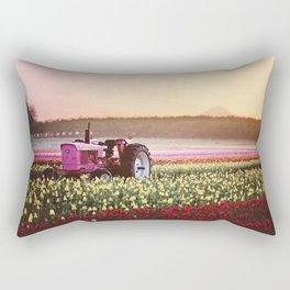 Tulip Festival Pink tractor Rectangular Pillow