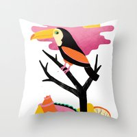 toucan Throw Pillows featuring Toucan by Vasilisa Wise