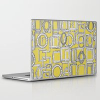 frames Laptop & iPad Skins featuring picture frames aplenty yellow by Sharon Turner