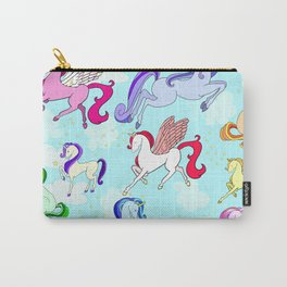 Unicorn repeating pattern colorful on blue Carry-All Pouch