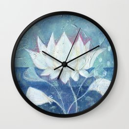 Abstract Lotus Art Acrylic Painting Reproduction by Kimberly Schulz Wall Clock