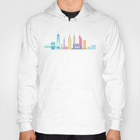 new york skyline Hoodies featuring New York Skyline White by Christopher Dina