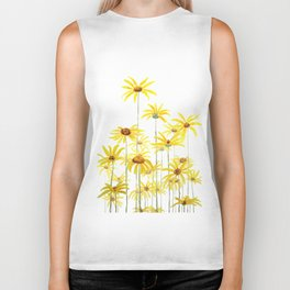 Yellow sunchoke flowers painting Biker Tank
