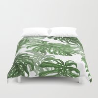 palms Duvet Covers featuring Monstera Deliciosa by Laura O'Connor
