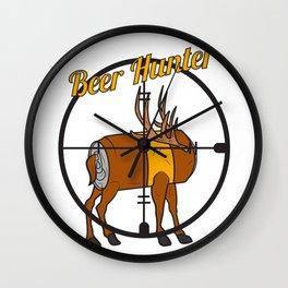 Beer hunter deer antler crosshair funny party gift idea Wall Clock