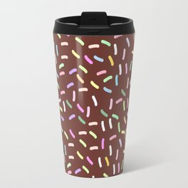chocolate Glaze with sprinkles. Brown abstract background Travel Mug
