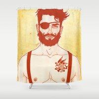 sailor Shower Curtains featuring Sailor by Ismael Álvarez