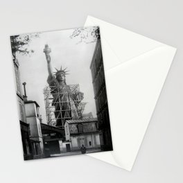 Piecing Together of the Architecture of the Statue Of Liberty In Paris, 1886 black and white photograph Stationery Cards