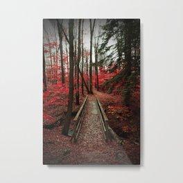 Bridge Through Autumn Forest Metal Print