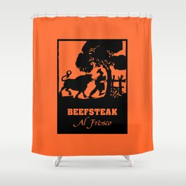 Beefsteak al fresco, silhouette art Shower Curtain