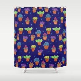 Colourful Flower Pots Pattern Shower Curtain