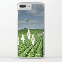 Green Rows Clear iPhone Case