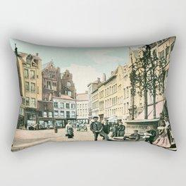 Antwerp Belgium city center restored view around 1900 Rectangular Pillow